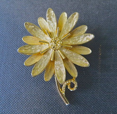 Hey, I found this really awesome Etsy listing at https://www.etsy.com/listing/189935321/vintage-daisy-brooch-flower-pin-signed