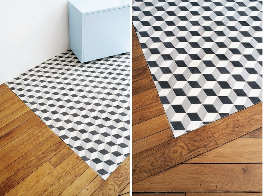 carreaux de ciment parquet blond entr e maison pinterest carrelage de ciment parquet et. Black Bedroom Furniture Sets. Home Design Ideas