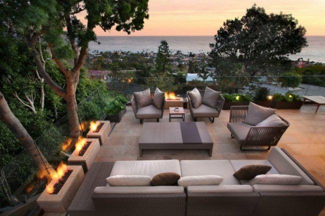 Sonnenterrasse Gestalten Offen Design Feuerstellen Modern Lounge Couchtisch