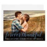#wedding - Custom Slate Blue Photograph Forever Thankful Card