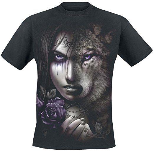 Spiral Wolf Soul T-Shirt schwarz S