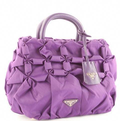 Prada Bn1701 Tessuto Pleated Bag Purple All Handbag Fashion Pradahandbags