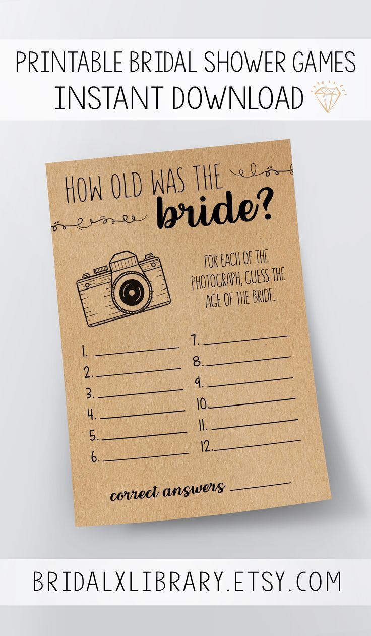 How Old Was The Bride, Bridal Shower Games Printables, Bridal Shower Game Idea, Bridal Shower Instant Download, Wedding Game, Kraft Paper