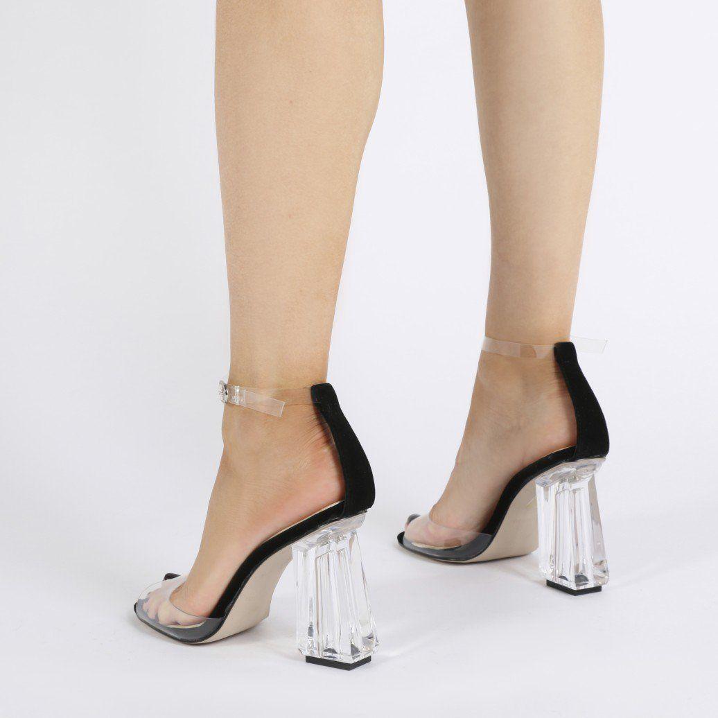 4276224e94c Jaya Flared Perspex Block Heels in Rust Faux Suede | shoes | Heels ...