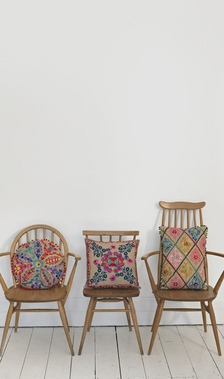 Jute Embroidered Cushions ~ Plumo. Colorful, Intricate Designs On These Old  Wood Chairs.