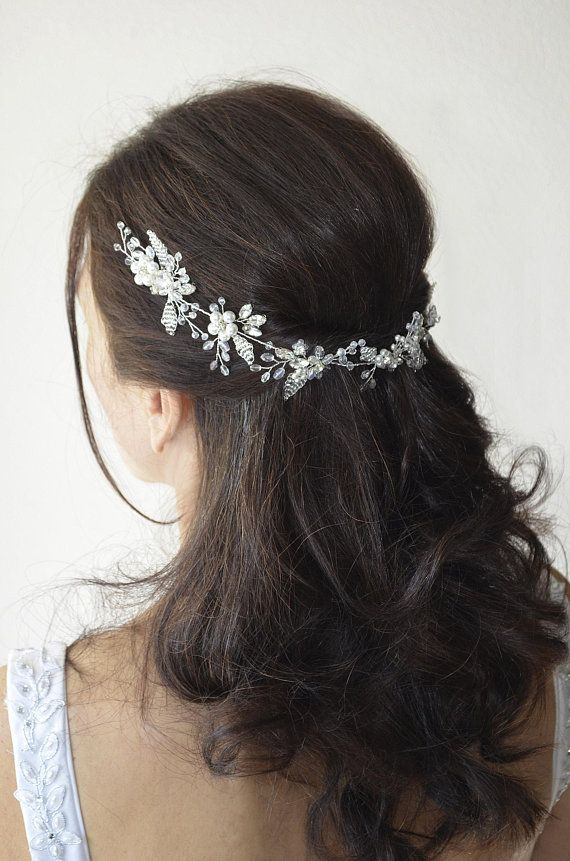 Bridal double leaf wedding hair comb Bridal long pearl crystal modern bridal  hair vine Pearl hair sw 2c8b16888df5