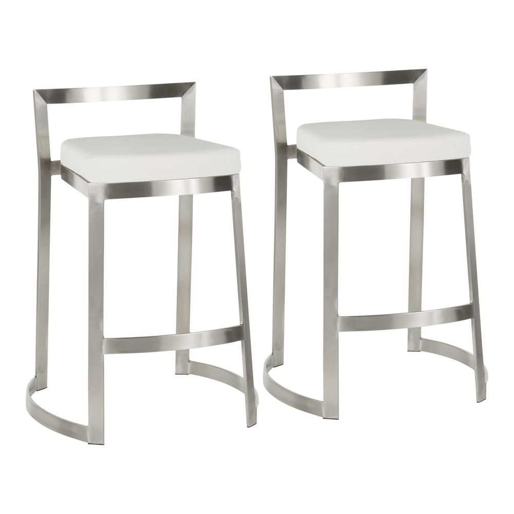 Lumisource Fuji Dlx 28 In Stainless Steel Counter Stool With