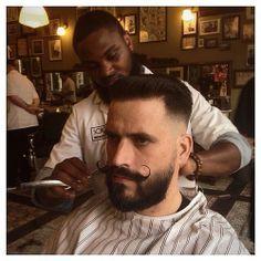 haircut            beard with handlebar mustache