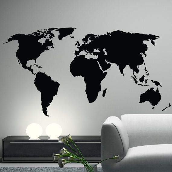 World Map Wall Decal Sticker World Country Atlas The Whole World
