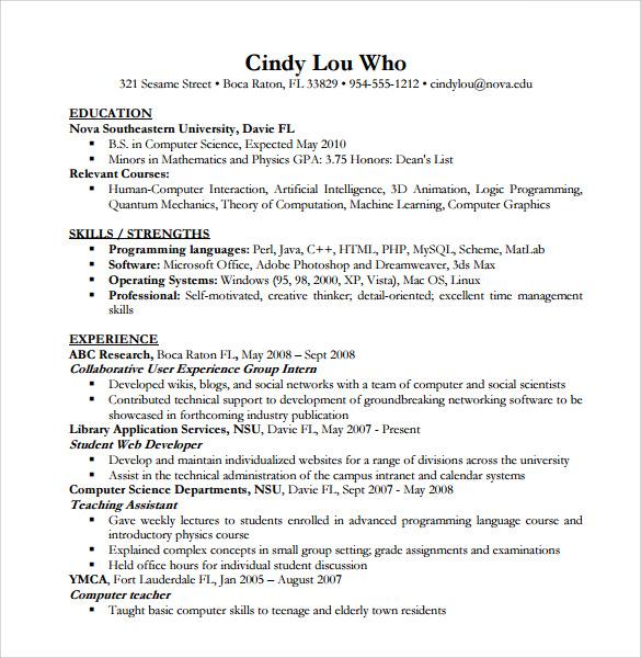 Resume Templates Computer Science (4 di 2020