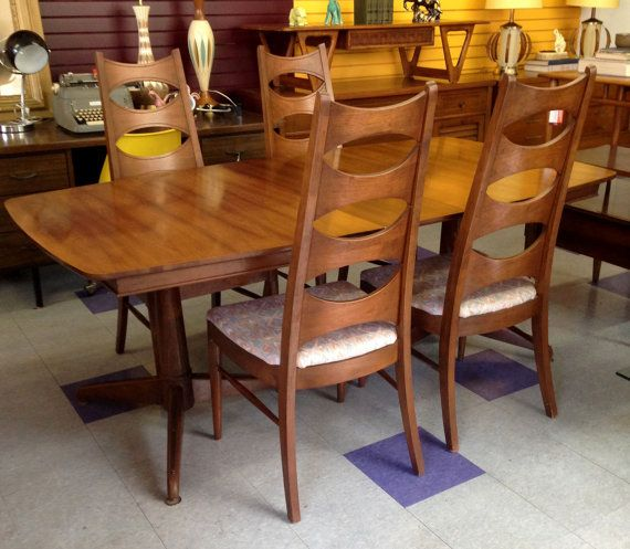 Mid Century Dining Funky Furniture Vintage High Back Chairs Set