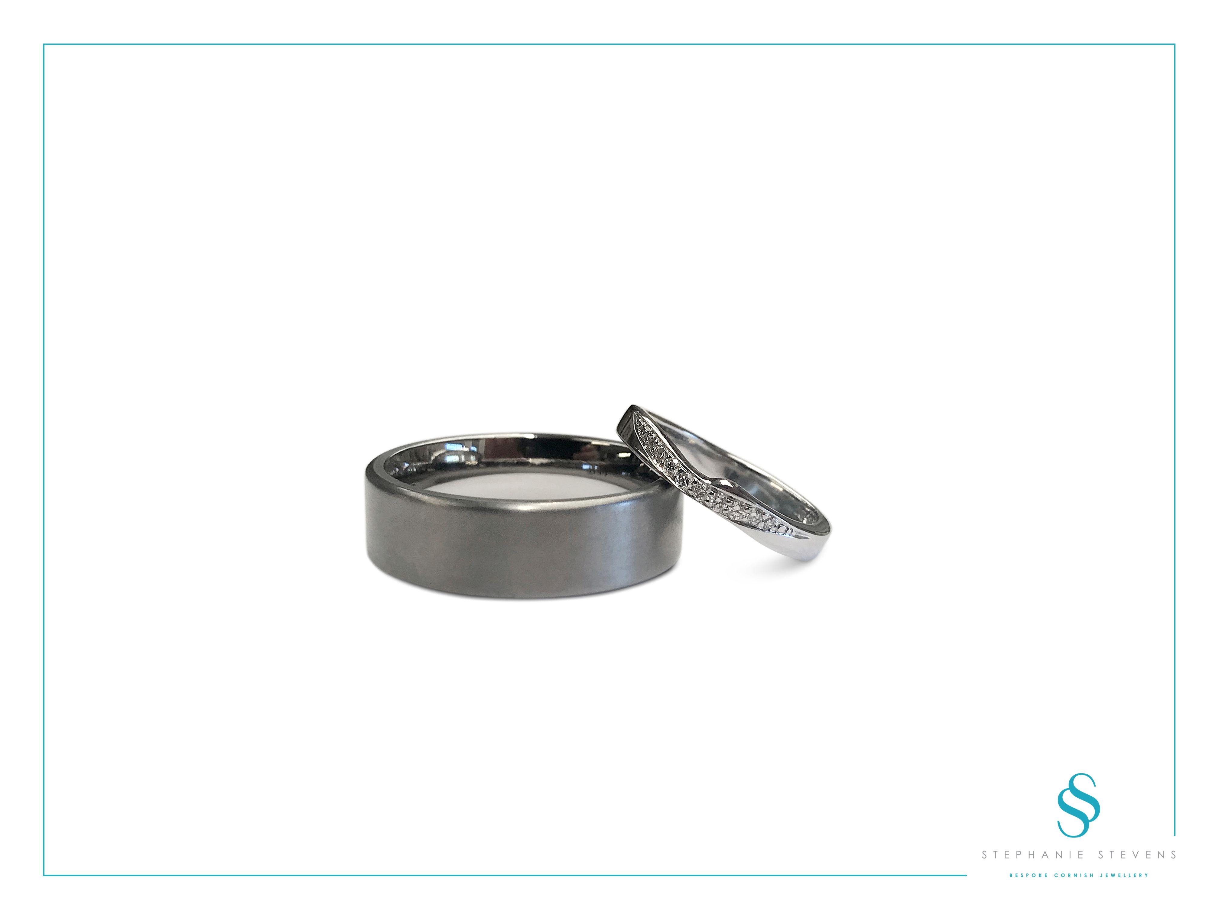 9ct White Gold curved wedding band, micro pavé diamonds