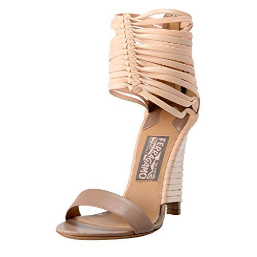Salvatore Ferragamo Pulcket Leather High Heel Sandals Shoes US 7 IT 37 -- Continue to the product at the image link.