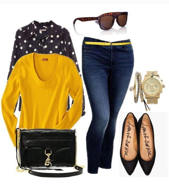 Camisa topos y jersey amarillo