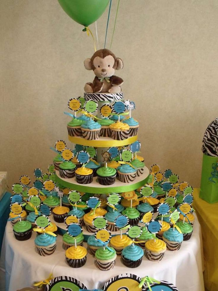 Jungle baby shower party ideas party cupcakes baby for Baby shower party junge