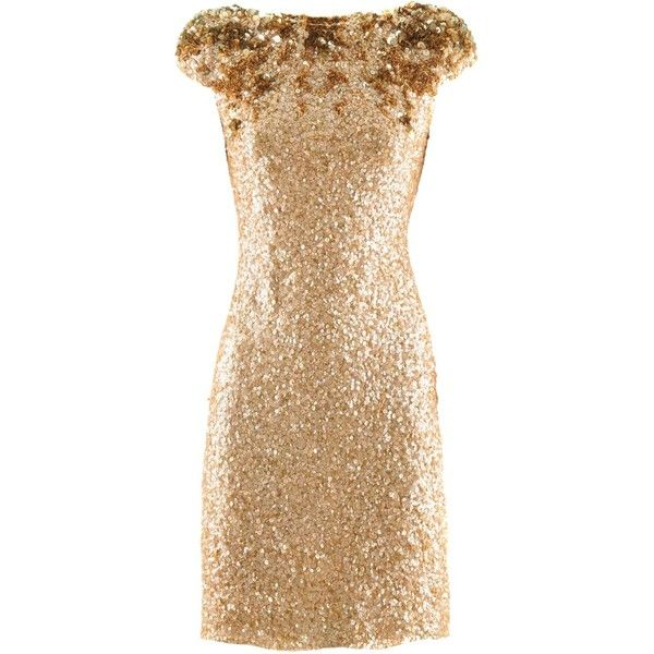Jenny Packham Gold Sequin Dress ($2,430) ❤ liked on Polyvore featuring dresses, vestidos, short dresses, gold, beige cocktail dress, gold sequin cocktail dress, short sequin dress, beige dress and gold dress