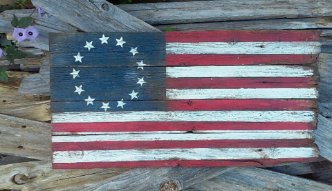 Betsy Ross Rustic Flag Wood American 40x24
