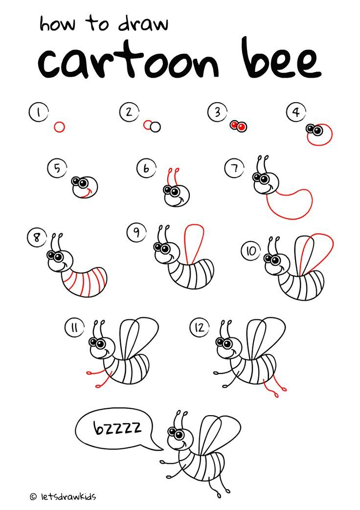 How to draw cartoon Bee. Easy drawing, step by step