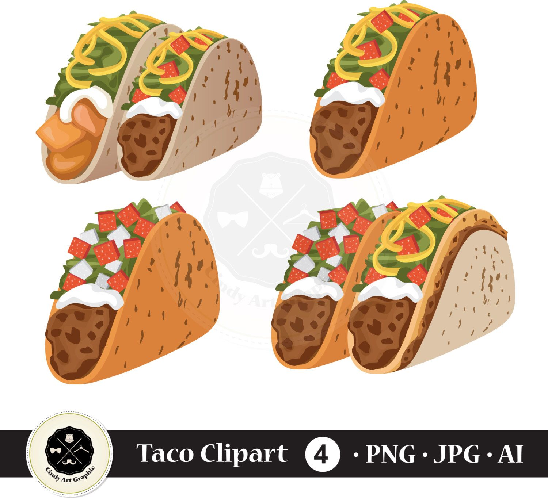 Taco Cliparttacomexican Foodcinco De Mayo Clipartfood Etsy Vector Art Design Vector Free Clip Art