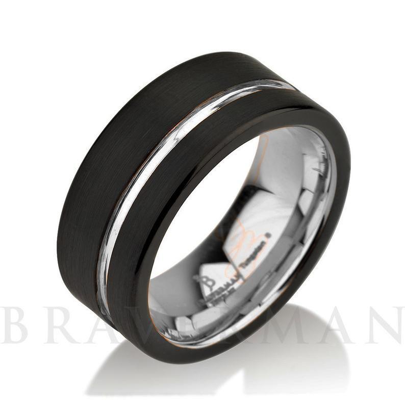 9mm Anniversary Ring Yellow Gold Custom Laser Engraving Domed Tungsten Wedding Band Tungsten Wedding Ring Mens Ring