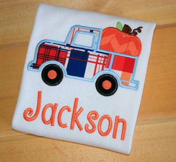 Personalized Boys Pumpkin Truck Shirt Onesie Fall by ChicSunflower, $24.00