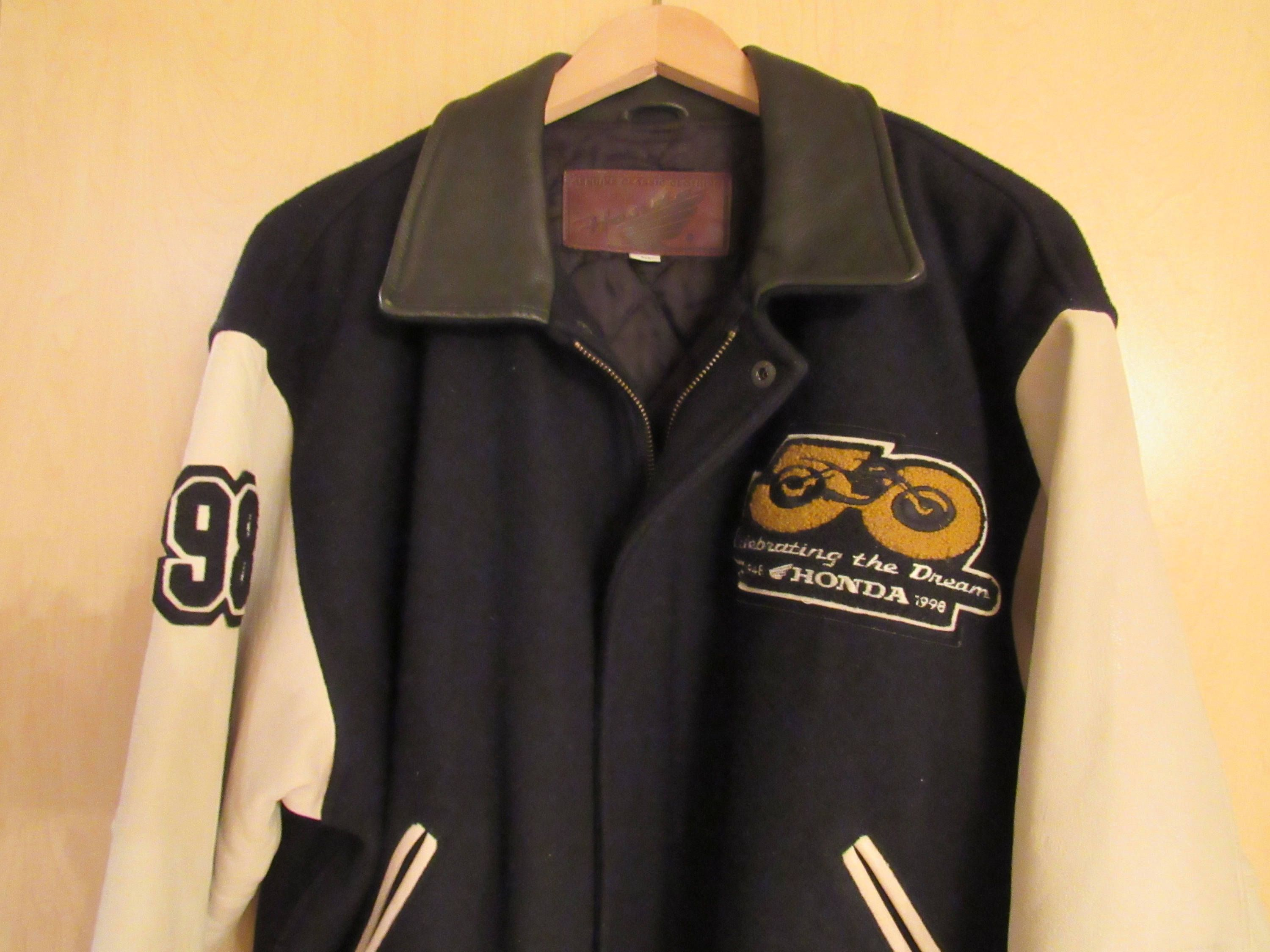 Honda Motorcycle 50th Anniversary Lettermans Jacket Size Medium Collectible American Corp By Thevintagenightowls On