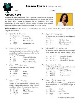 Person Puzzle -- Inverse Functions - Alicia Keys Worksheet | Other ...