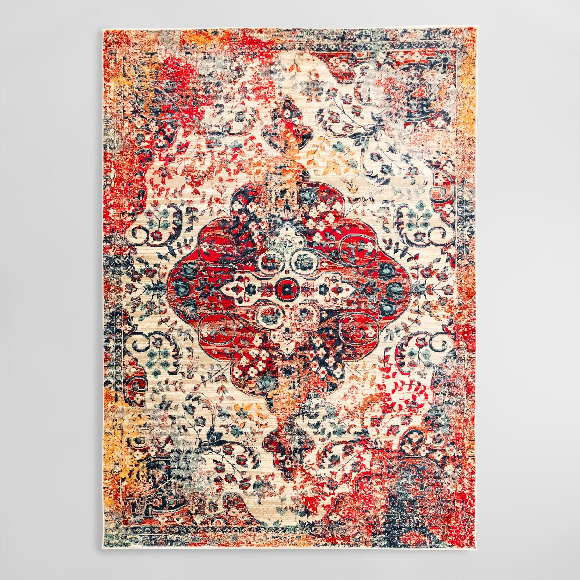 Red And Ivory Floral Medallion Area Rug 9ft6 X12ft8 By World
