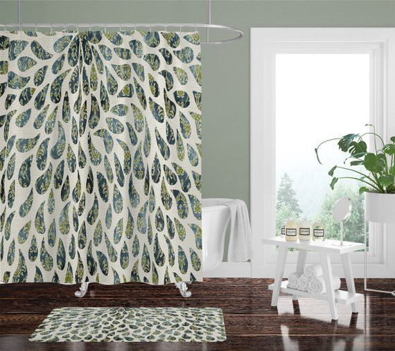 Victorian Rain Shower Curtain W Bathmat Set Options Green Paisley Tear Drop Pattern Shower Set Shower Set Curtains Drops Patterns