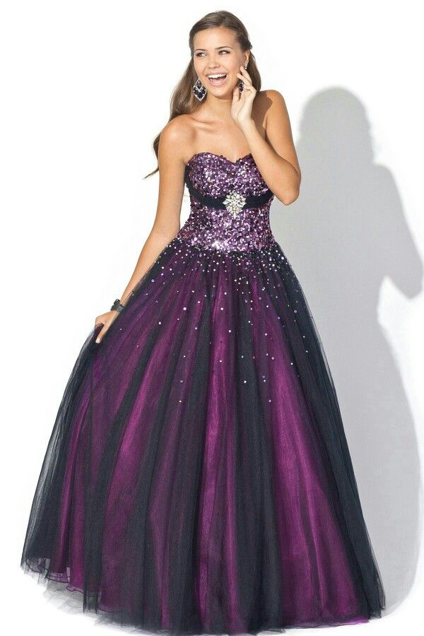 Purple and Black Prom Dress | Things to Wear | Pinterest