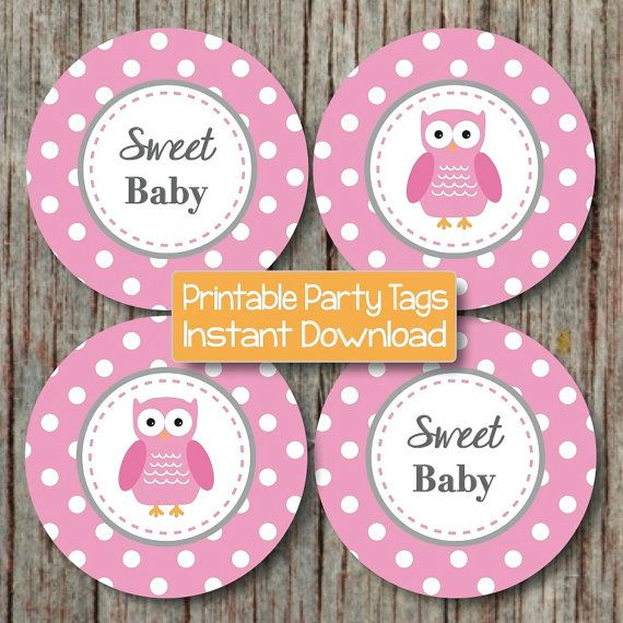 baby shower decorations owl cupcake toppers pink grey by 400