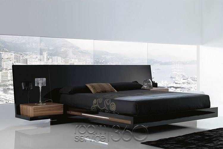 52c353dc8a Luxor 923 Modern Platform Bed in High Gloss Black Lacquer and American  Walnut Accents