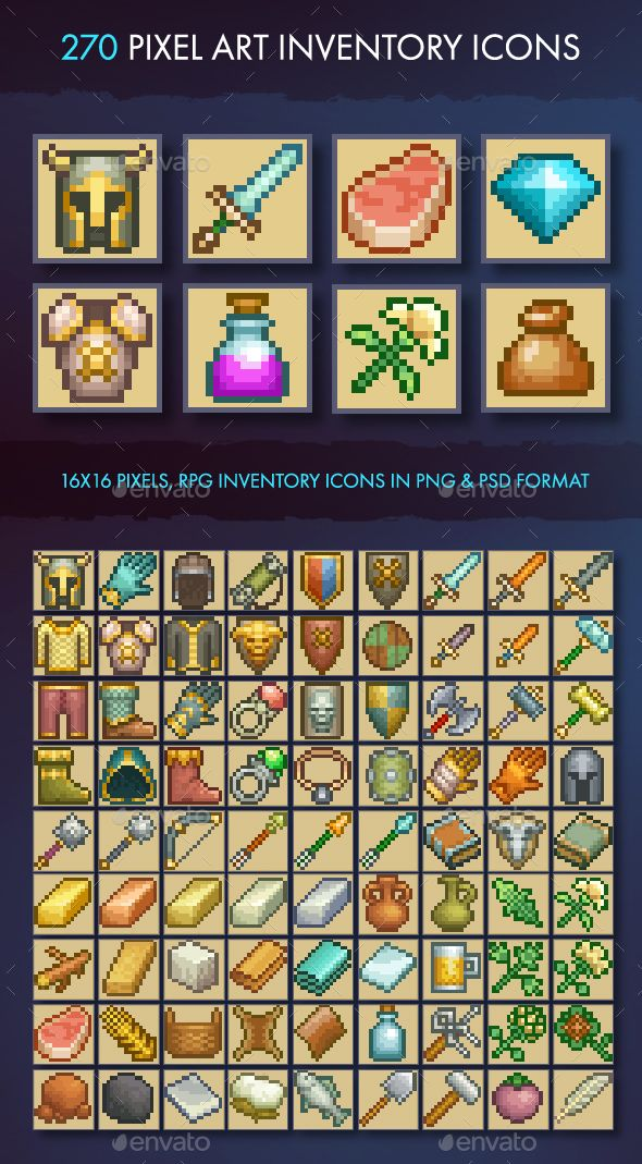 Pixel Art Inventory Icons 16x16 Miscellaneous Game