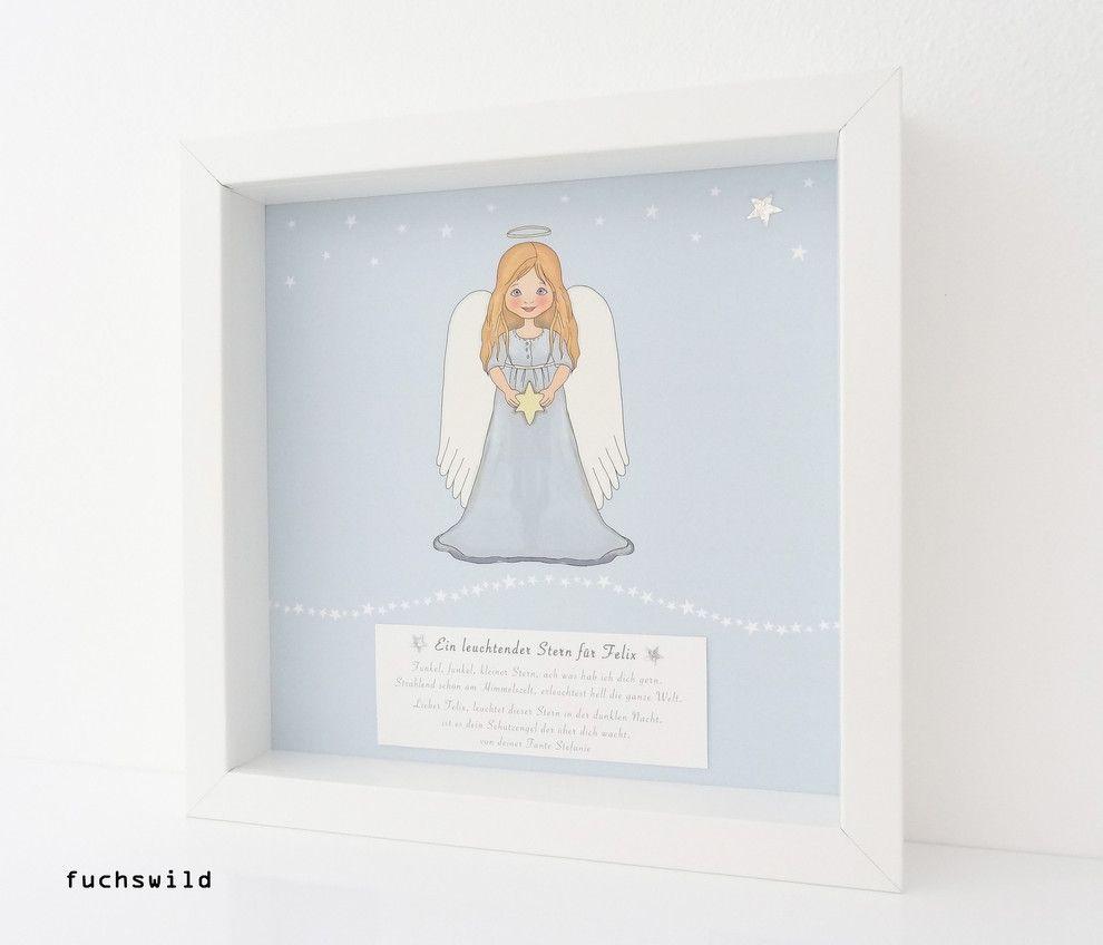 Taufpatengeschenke, Geschenke zur Geburt, Schutzengelbild, Druck Engel mit Stern blau 1