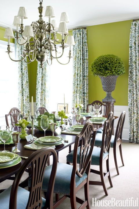 The Verdant Dining Room Of A Long Island Home Features Walls Painted In  Benjamin Mooreu0027s Zesty Grenada Green And Curtains In Quadrilleu0027s Forbidden  City ...