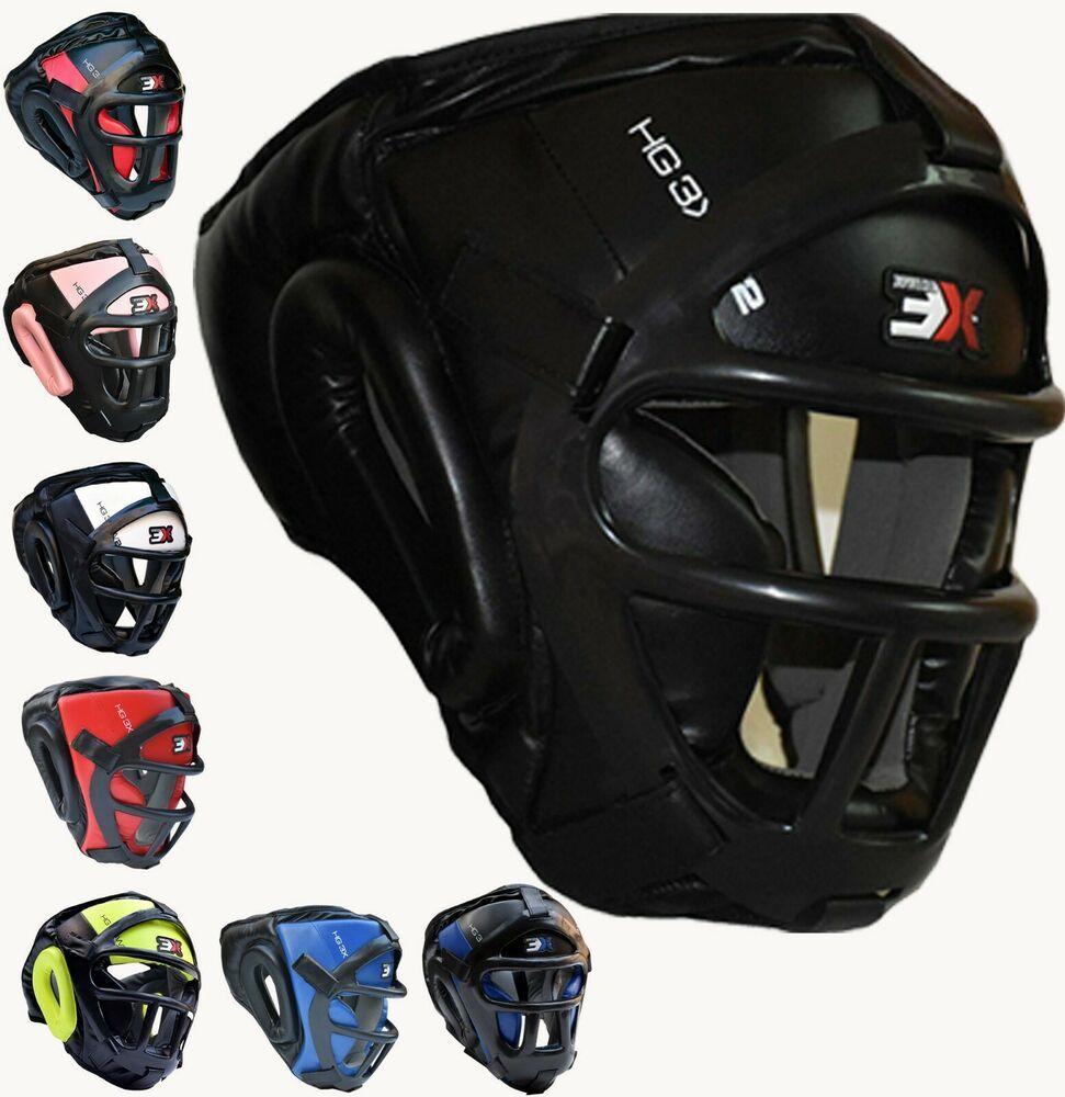 3XSports Head Guard Helmet Kick Boxing Gear Face Protective Headgear Protection