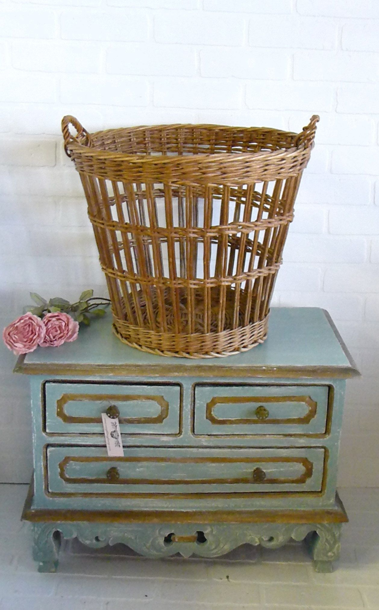 Vintage French Laundry Basket French Farmhouse Decor Country