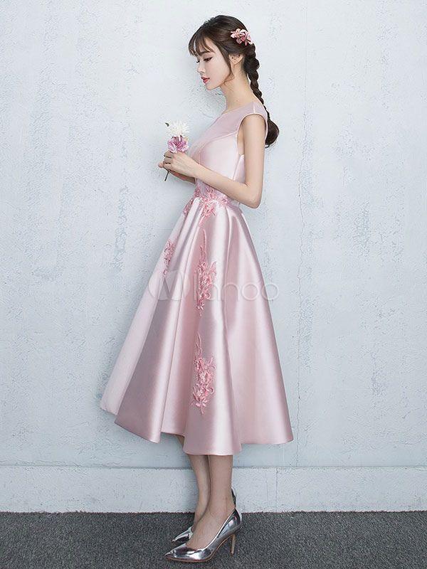 Blush Homecoming Dresses 2020 Satin Soft Pink Prom Dress ...