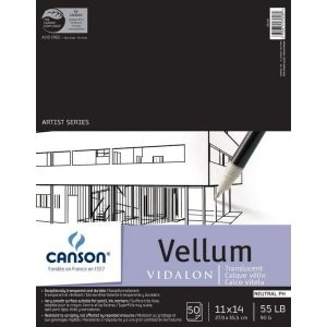 Canson Artist Series 11 X 14 Vellum Sheet Pad Wire Bound White Ivory Pad 50 Sheets 11 X 14 Smooth Tracing Paper Vellum Pens Markers