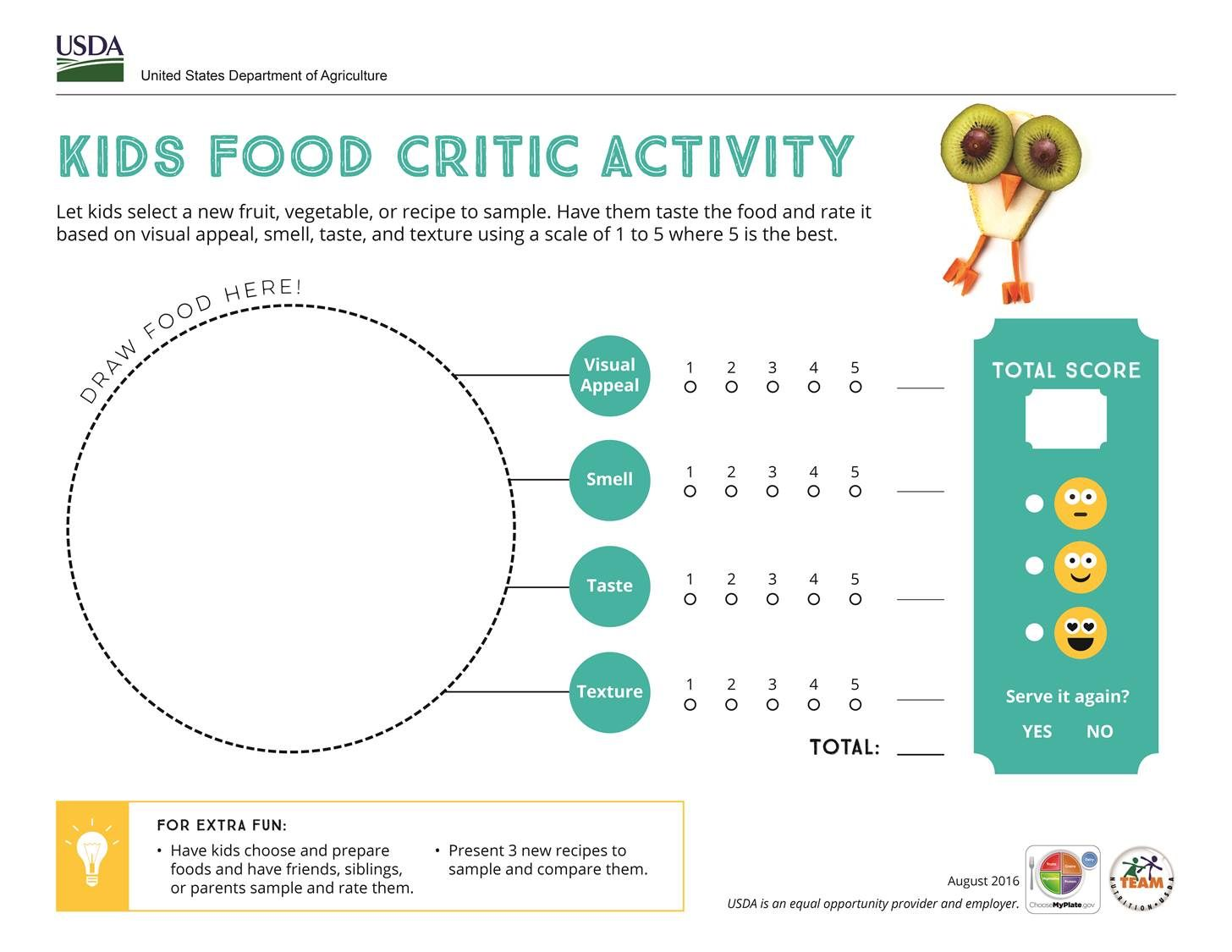 Taste and rate a food with this Food Critic activity!