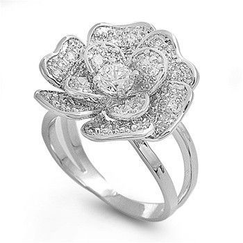 925 Sterling Silver CZ Flower Pave Ring 21MM