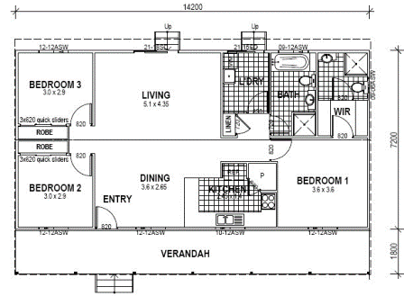3 bedroom floor plan 14m x 7m 100sqm small and minimalist