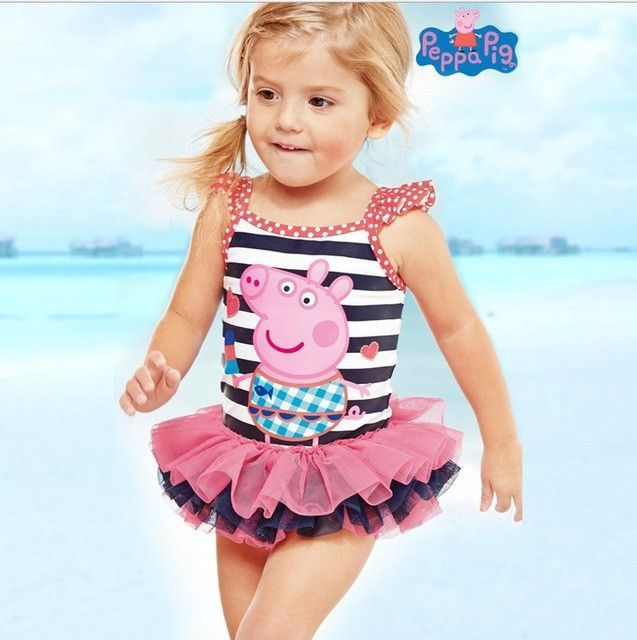 ad42644004d56 Cute Peppa Pig Baby Girl Swimwear One Piece Striped Swimsuit, Little Girl  Swimsuits, Baby