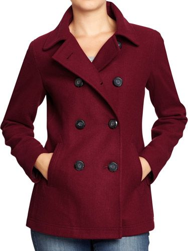 Details about AEROPOSTALE Womens Solid Peacoat Winter Wool Pea ...