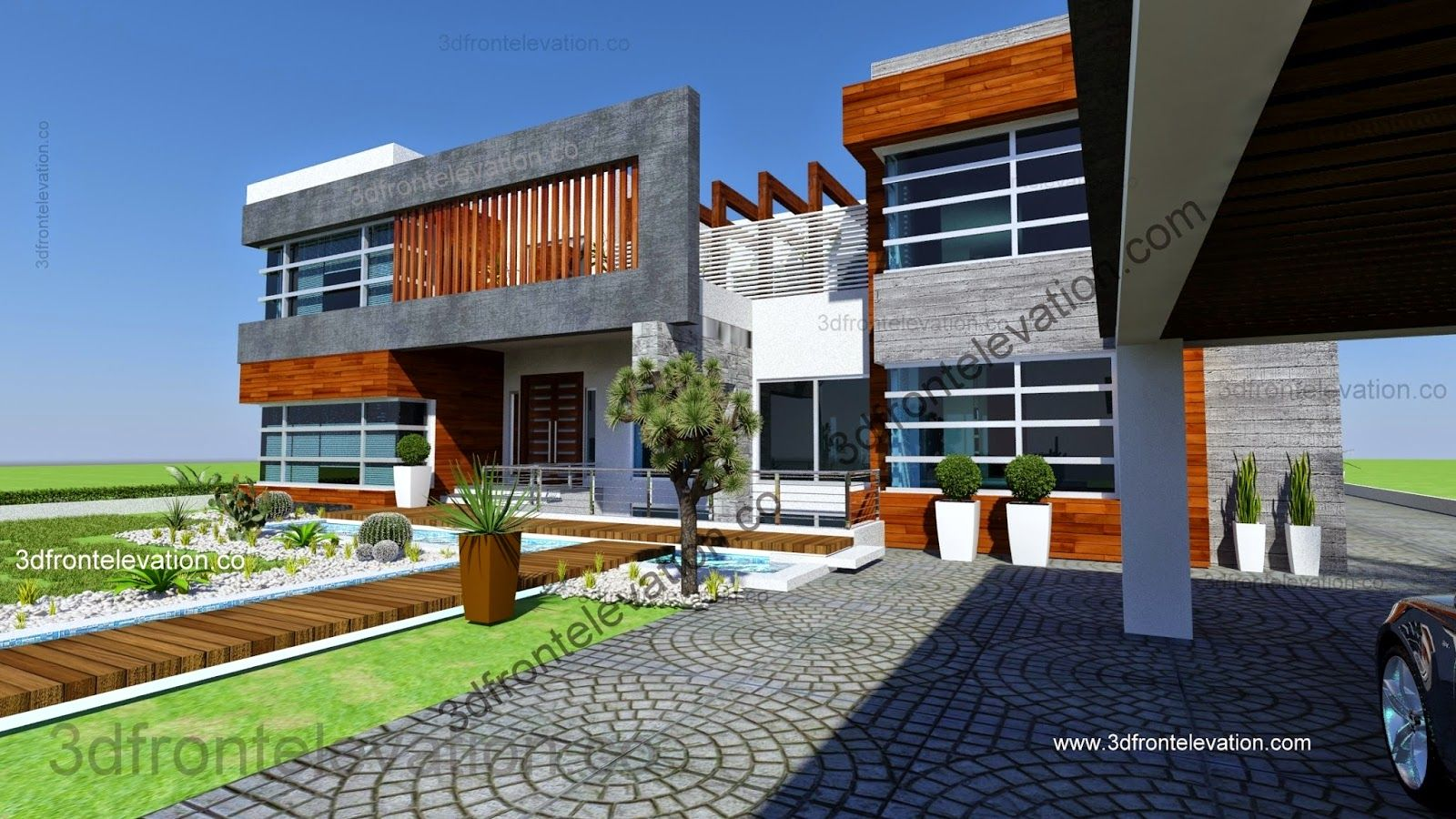 Beautiful 2 kanal house plan 3d front elevation