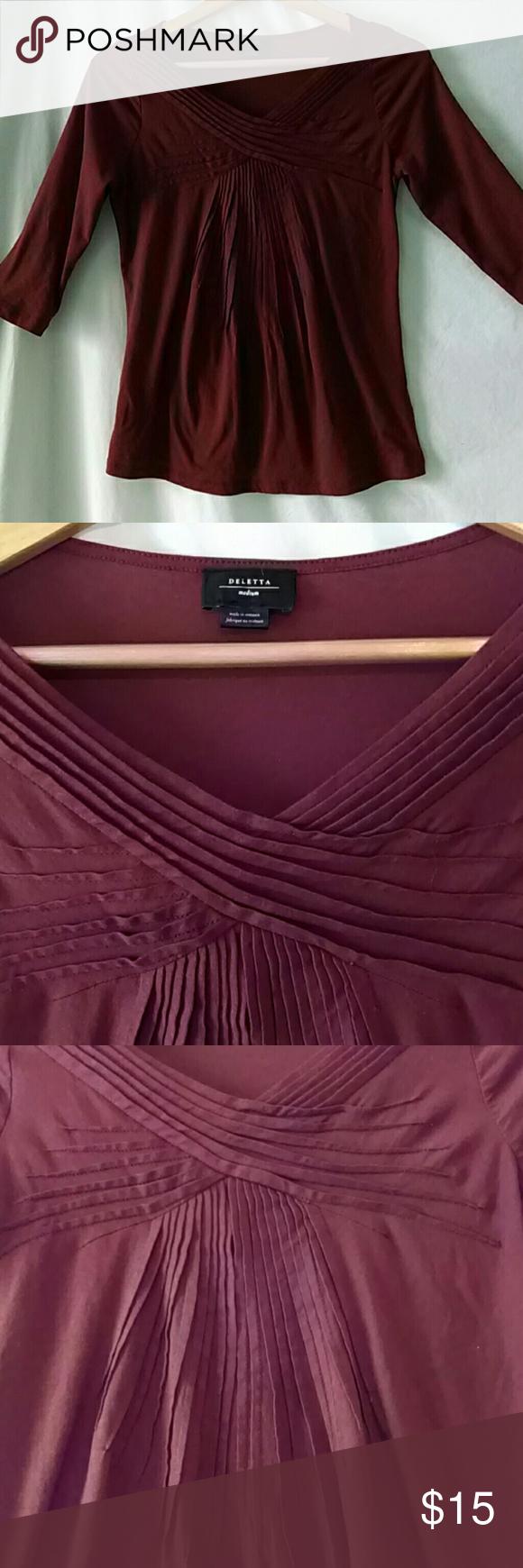 Anthropologie Deletta Cocoa Pintucked Top NWOT! Sleek & Classy Deletta Design...Pintucks all-over front. 3/4 length sleeves, NWOT! Size M Anthropologie Tops Tees - Short Sleeve