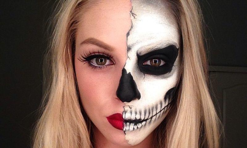 Halber Totenkopf Schminken : kunstvolle halloween schminke halloween gesicht schminken schminken halloween und halloween ~ Yuntae.com Dekorationen Ideen