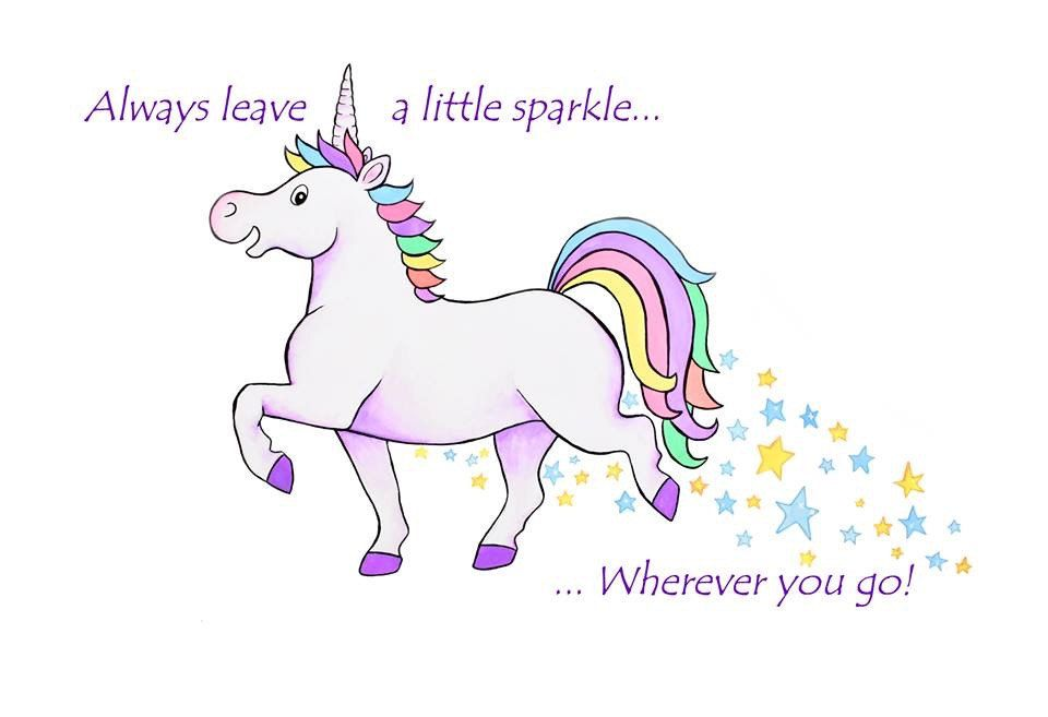 A4 mounted print featuring a rainbow unicorn - leave a little sparkle wherever you go by WhimsicolourArt on Etsy