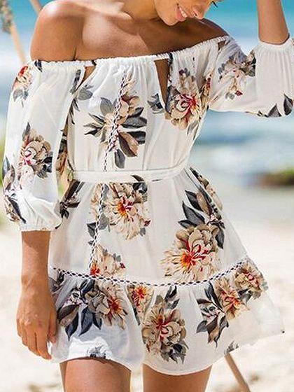 White Floral Print Off Shoulder Cut Out Ladder Trim Skater Dress | Choies