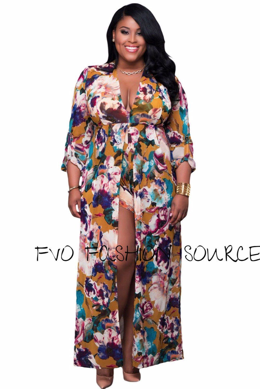 Pretty plus size long sleeve floral romper maxi products